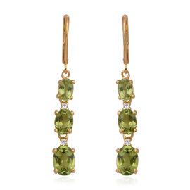 5.48 Ct Hebei Peridot and Zircon Dangle Earrings in Sterling Silver