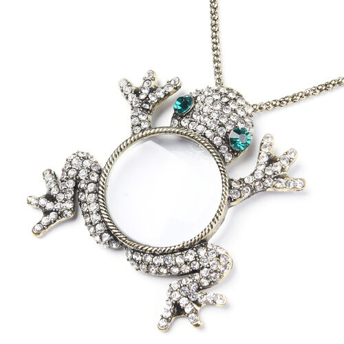 Simulated Diamond, Green and White Austrian Crystal Frog Pendant with Chain (Size 28 with 3 inch Ext