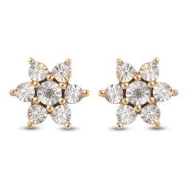 MP Diamond (Rnd) Floral Earrings (with Push Back) in 14K Gold Overlay Sterling Silver