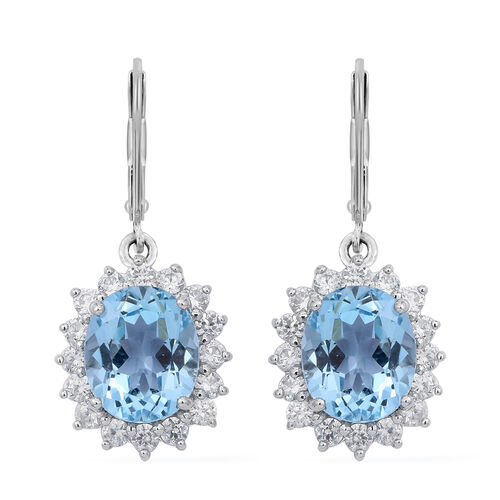 Limited Edition Designer Inspired Rare Size Swiss Blue Topaz (Ovl), Natural White Cambodian Zircon Lever Back Earrings in Rhodium Plated Sterling Silver 9.500 Ct.