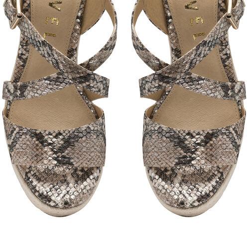 Ravel Yeovil Snake Print Wedge Sandal (Size 4) - Taupe