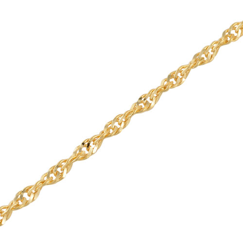 Vicenza Collection 14K Gold Overlay Sterling Silver Singapore Chain (Size 30), Silver wt 4.15 Gms.