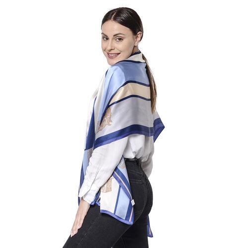 LA MAREY 100% Glossy Mulberry Silk Block and Horse Pattern Blue Scarf (175x52cm)