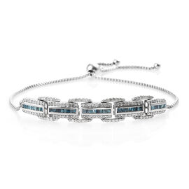 Blue and White Diamond (Bgt and Rnd) Bracelet (Size 6.5 - 9.5 Adjustable) in Platinum Overlay Sterli