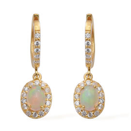 Ethiopian Welo Opal (Ovl), Natural Cambodian Zircon Earrings (with Clasp) in Yellow Gold Overlay Ste