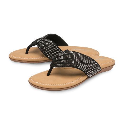 Dunlop Embellished Toe Post Slip on Flat Sandals (Size 4) - Black