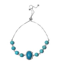 One Time Deal- Blue Howlite (Ovl 14x10mm) Adjustable Bracelet (Size 6.5-9.5mm) in Sterling Silver 17.00 Ct.