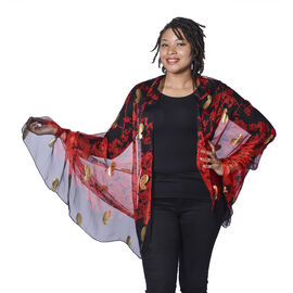Close Out Deal- LA MAREY 100% Mulberry Silk Red Scarf with Golden Embroidery (180x110cm)