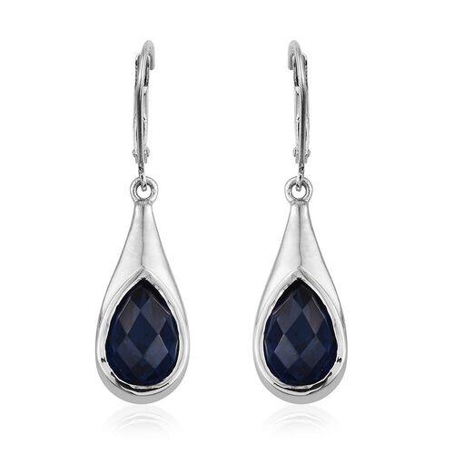 Ceylon Colour Quartz (Pear) Lever Back Earrings in Platinum Overlay Sterling Silver 6.750 Ct.