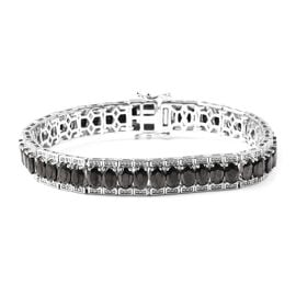 12.50 Ct Shungite Tennis Bracelet in Rhodium Plated Sterling Silver 7.5 Inch