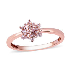 9K Rose Gold Natural Pink Diamond (Rnd and Bgt) Ring 0.20 Ct.