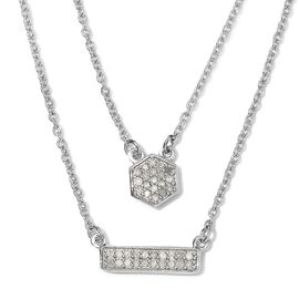 Diamond Necklace (Size 18) in Platinum Overlay Sterling Silver 0.23 Ct, Silver wt 6.14 Gms