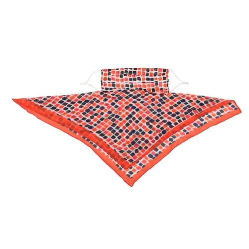 New Arrival- 2 in 1 Block Pattern 100% Mulberry Silk Scarf and Protective Face Covering in Multicolour (Size 40x40 Cm)