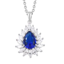 Simulated Blue Sapphire (Pear), Simulated Diamond Pendant With Chain (Size 20) in Silver Plated