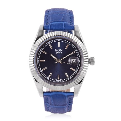EON 1962 Swiss Movement Sapphire Glass 3ATM Water Resistant Watch in Silver Tone with Blue Colour Genuine Leather Strap