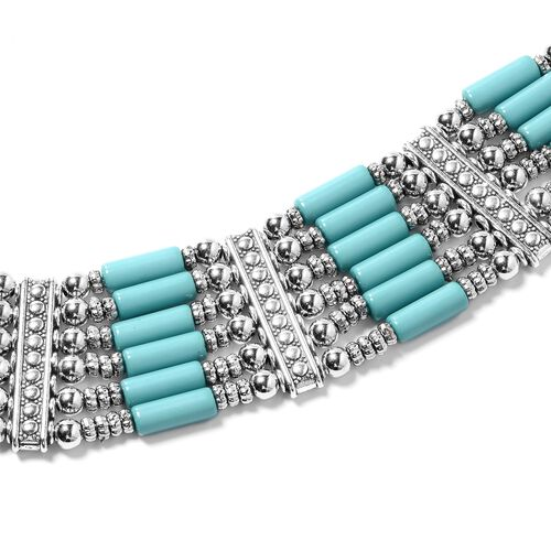 Designer Inspired-Blue Howlite  BIB Necklace (Size 17) in Silver Plated.