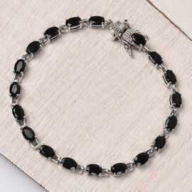 9 Ct. Black Tourmaline Classic Bracelet in Platinum Plated Sterling Silver 8 Inches