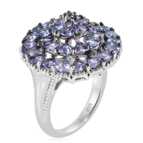 Tanzanite (Trl and Rnd) Cluster Ring and Platinum Overlay Sterling Silver 3.540 Ct, Silver wt 5.40 Gms.