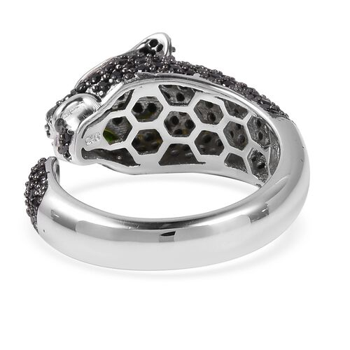Boi Ploi Black Spinel (Rnd), Russian Diopside Black Panther Ring in Rhodium and Black Overlay Sterling Silver 1.200 Ct.