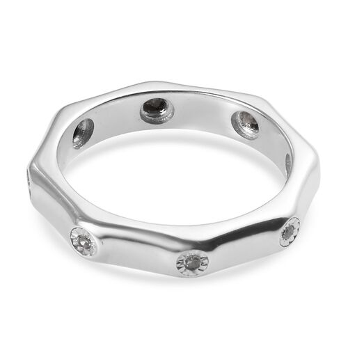 Diamond (Rnd) Flush Set Bamboo Band Ring in Platinum Overlay Sterling Silver 0.05 Ct.