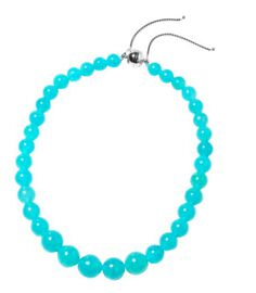 Rare Premium Russian Amazonite Beads Necklace (Size 8-18 Adjustable) with Magnetic Lock in Rhodium O