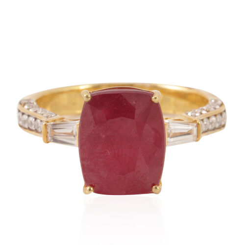 African Ruby (Cush 8.50 Ct), Natural White Cambodian Zircon Ring in 14K Gold Overlay Sterling Silver 9.500 Ct.
