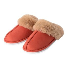 Super Soft Suede Faux Fur Slippers (Size M) - Orange