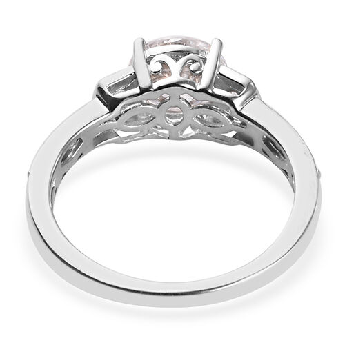 J Francis Platinum Overlay Sterling Silver Ring Made with SWAROVSKI ZIRCONIA 2.76 Ct.