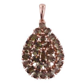 Jenipapo Andalusite (Ovl) Cluster Pendant in Rose Gold Overlay Sterling Silver 4.750 Ct.