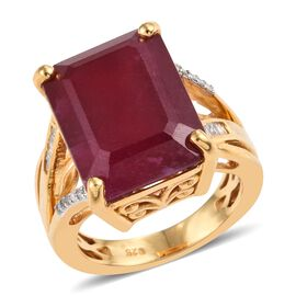 17.25 Ct African Ruby and Diamond Solitaire Ring in Yellow Gold Plated Sterling Silver 5.39 Grams