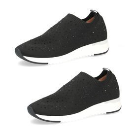 Caprice Leather Knit Embellished Trainers - Black
