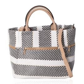 Luxe Abstract Woven Light Weight Weekend Bag with Multi Pockets and Removable Shoulder Strap (Size 4