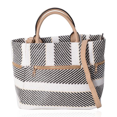 Luxe Abstract Woven Light Weight Weekend Bag with Multi Pockets and Removable Shoulder Strap (Size 40x31x25.5x19 Cm