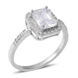 ELANZA Simulated Diamond (Oct and Rnd) Ring in Rhodium Overlay Sterling Silver