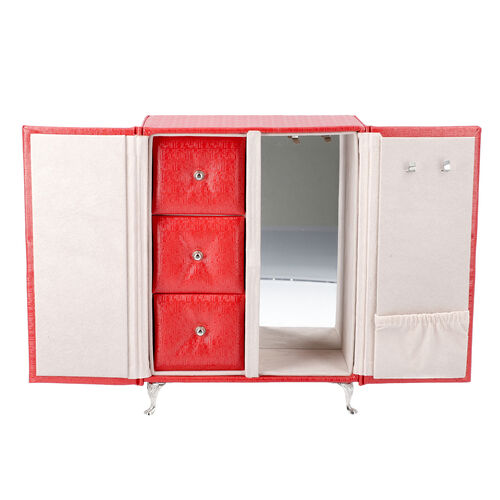 Wardrobe Design Jewellery Organiser with 3 Removable Drawers, 1 Mirror, 6 Hooks and Pocket (Size 17x9x23 Cm) - Wine Red