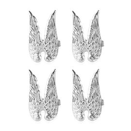 Set of 4 - Angel Wings Cast Aluminum Napkin Ring with Gift Box