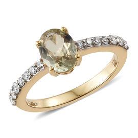 ILIANA 18K Yellow Gold AAA Turkizite (Ovl), Diamond (SI/G-H) Ring 1.300 Ct