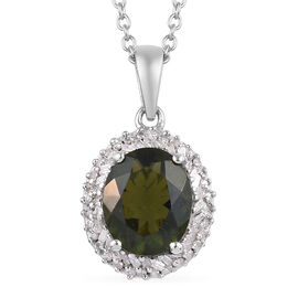 2.75 Ct Bohemian Moldavite and Diamond Halo Pendant With Chain in Platinum Plated Silver 20 Inch