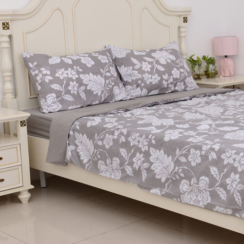 Grey Colour Microfiber Printed Fabric Duvet Cover with Floral Design (Size 200x200 Cm), Fitted Sheet