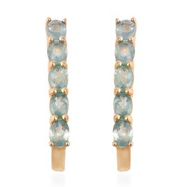 Grandidierite (Ovl) Earrings (with Clasp) in Yellow Gold Overlay Sterling Silver 1.65 Ct.