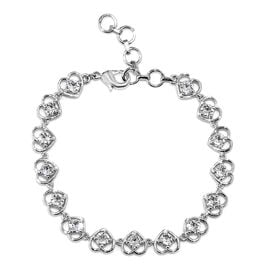 J Francis White Crystal from Swarovski Heart Bracelet in Platinum Plated 6.5 with 1 inch Extender