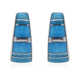 Artisan Crafted Turquoise Earrings (with Push Back) in Rhodium Overlay Sterling Silver 2.60 Ct.