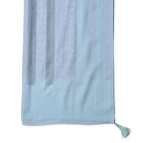 Close Out Deal Blue, Grey and Multi Colour Stripes Pattern Pareos (Size 200X145 Cm)