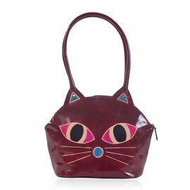 100% Genuine Leather Burgundy and Multi Colour Cat Face Hand Painted Shoulder Bag with RFID Blocking