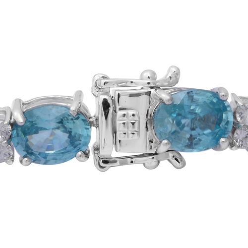 Ratanakiri Blue Zircon and Natural Cambodian White Zircon Bracelet (Size 7.5) in Rhodium Overlay Sterling Silver 39.88 Ct.
