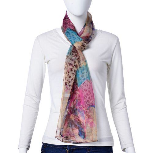One Time Deal-100% Mulberry Silk Brown, Pink and Multi Colour Leopard and Floral Pattern Scarf (Size 180X50 Cm)
