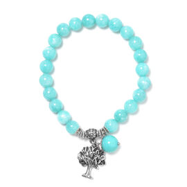 75 Carat Russian Amazonite Tree of Life Lucky Charm Beaded Stretchable Bracelet 7 to 7.5 Inch