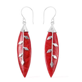 Royal Bali Collection - Sponge Coral Leaf Hook Earrings in Sterling Silver.
