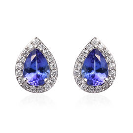ILIANA 18K White Gold AAA Tanzanite (Pear), Diamond (SI/G-H) Stud Earrings (with Screw Back) 1.60 Ct