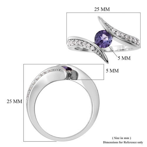 Isabella Liu Twilight Collection - Tanzanite and Natural Cambodian Zircon Bypass Ring in Rhodium Overlay Sterling Silver 0.78 Ct.